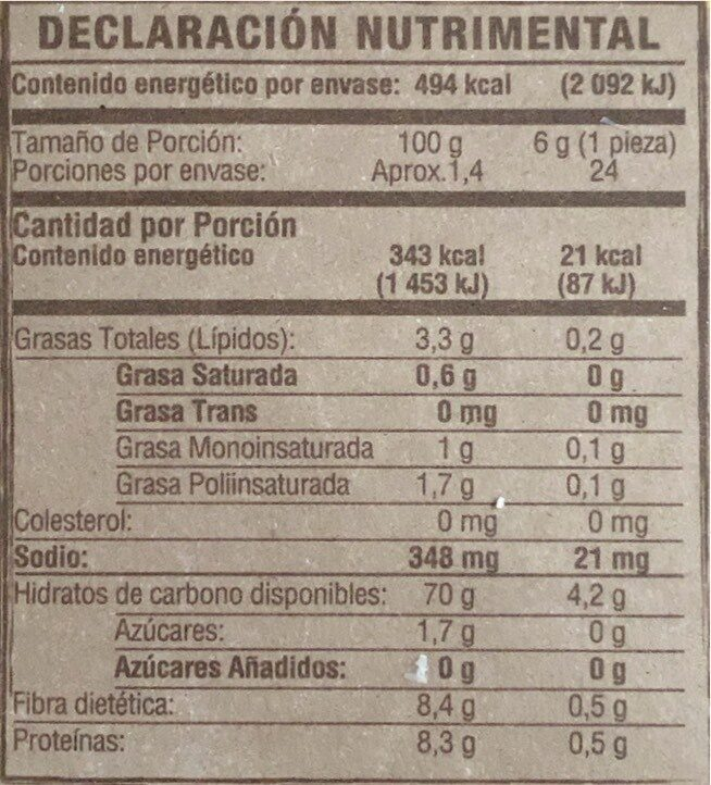 Salmas oven baked corn crackers - Información nutricional - es