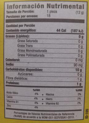 - Información nutricional