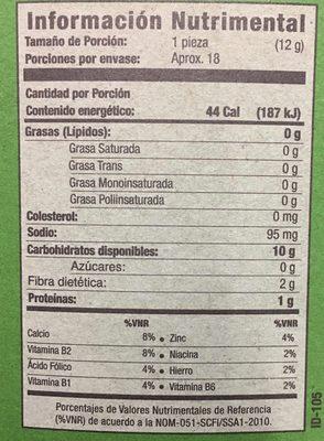 TOSTADAS HORNEADAS SANÍSSIMO - Informations nutritionnelles - es