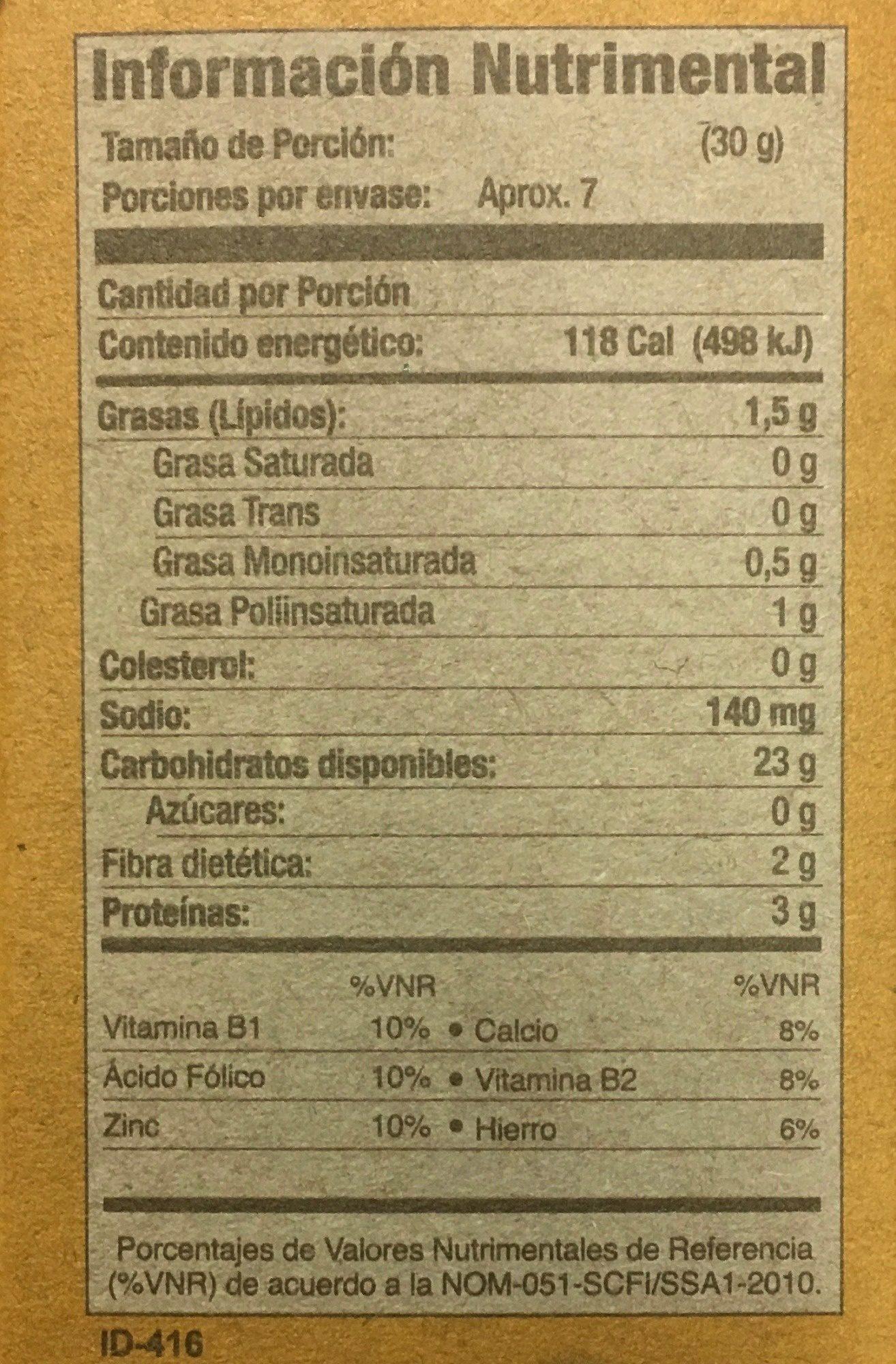 TOTOPOS HORNEADOS SANÍSSIMO - Voedingswaarden - es
