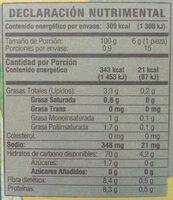 Salmas horneadas - Nutrition facts - es