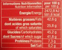 Tablette Noël Lait - Informations nutritionnelles