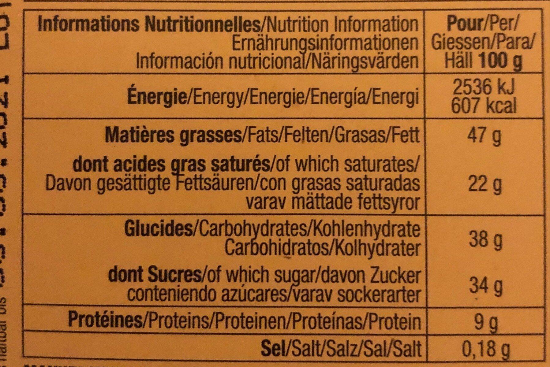 Tablette Chocolat Lait Et Noisettes - Nutrition facts - fr