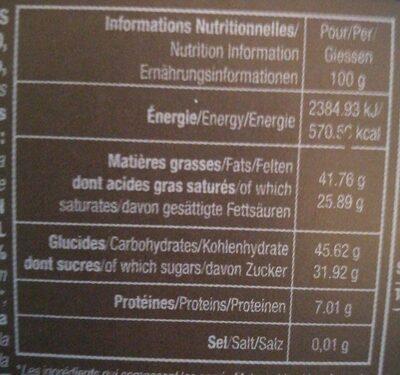 Assortiment De Carrés De Chocolat Noir - Nutrition facts - fr