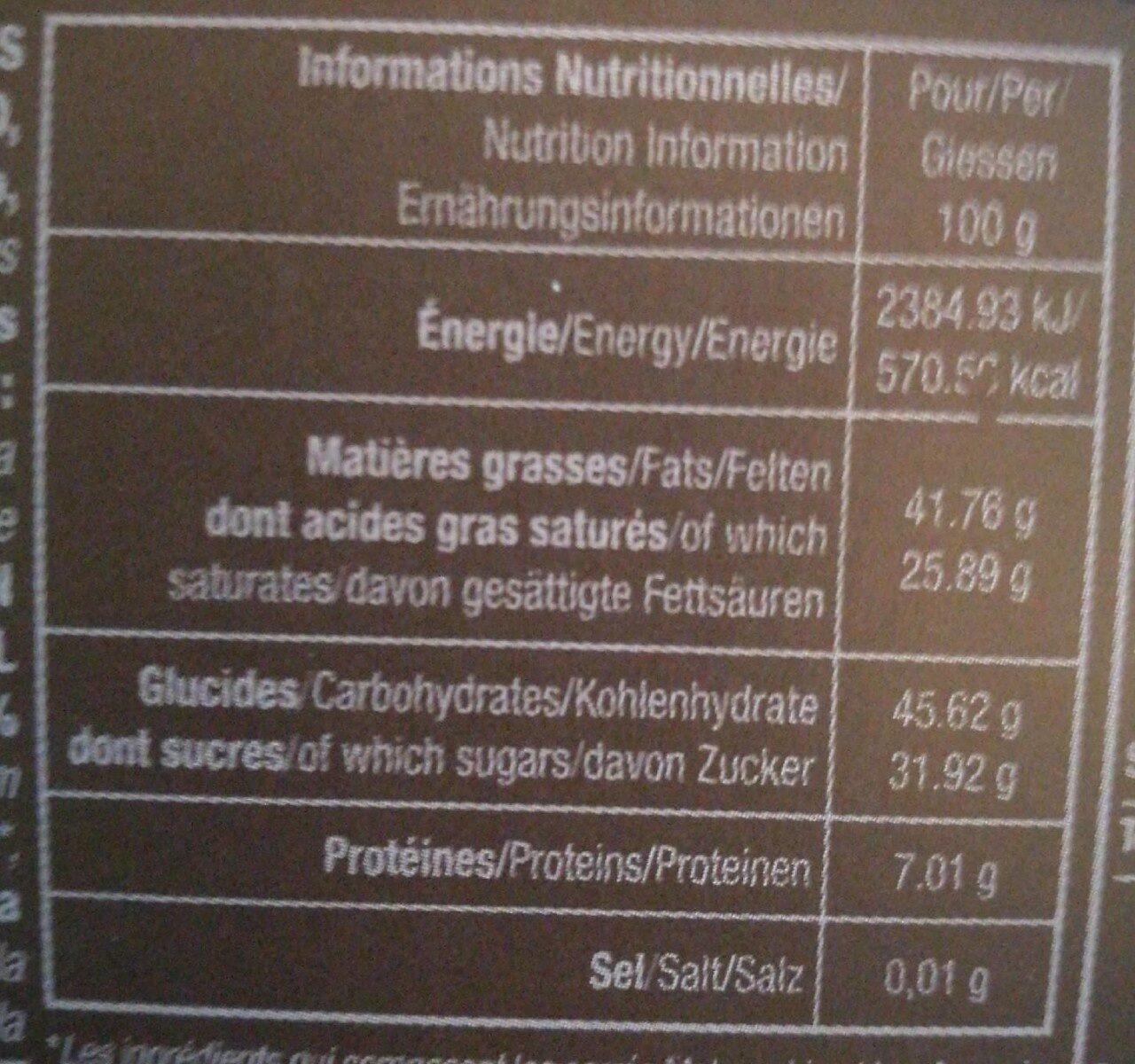 Assortiment De Carrés De Chocolat Noir - Informations nutritionnelles - fr