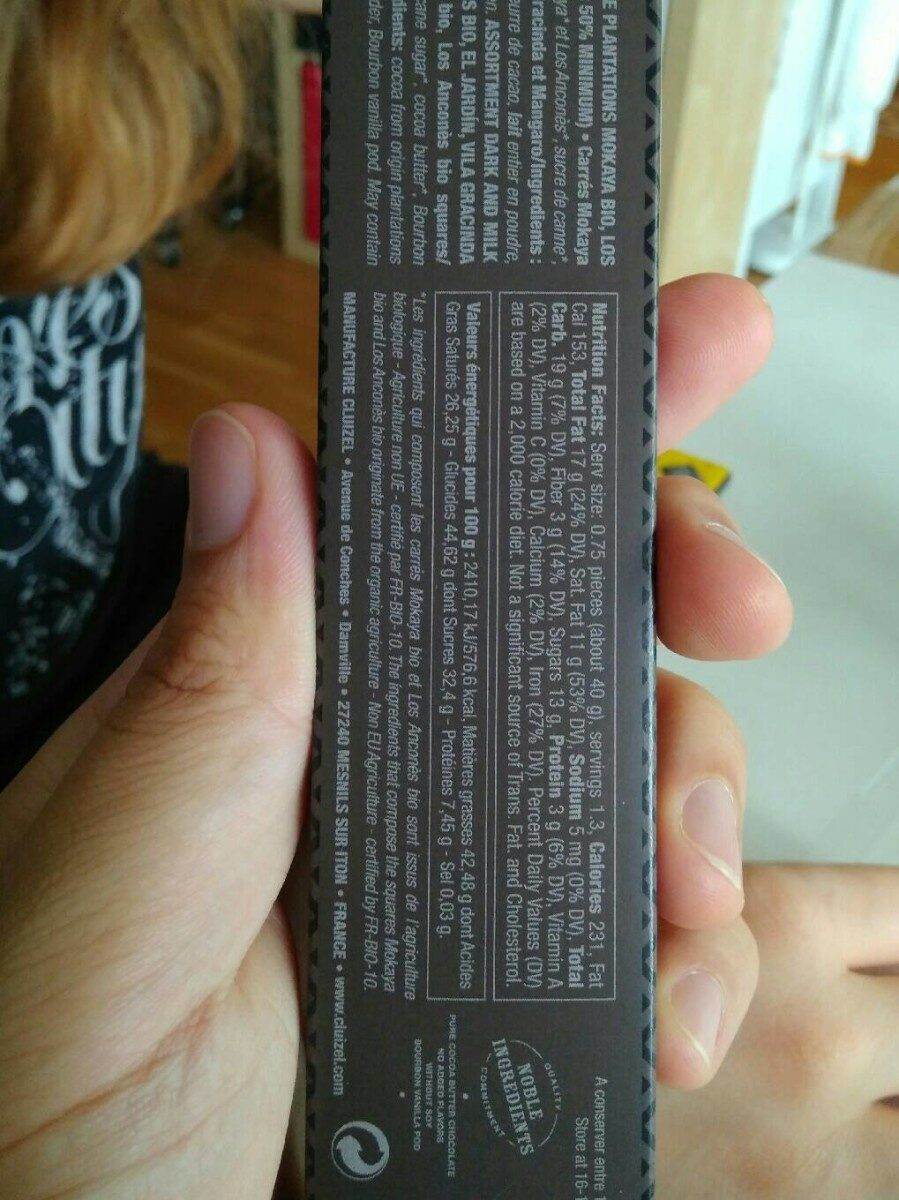 Chocolat de plantation - Informations nutritionnelles - fr