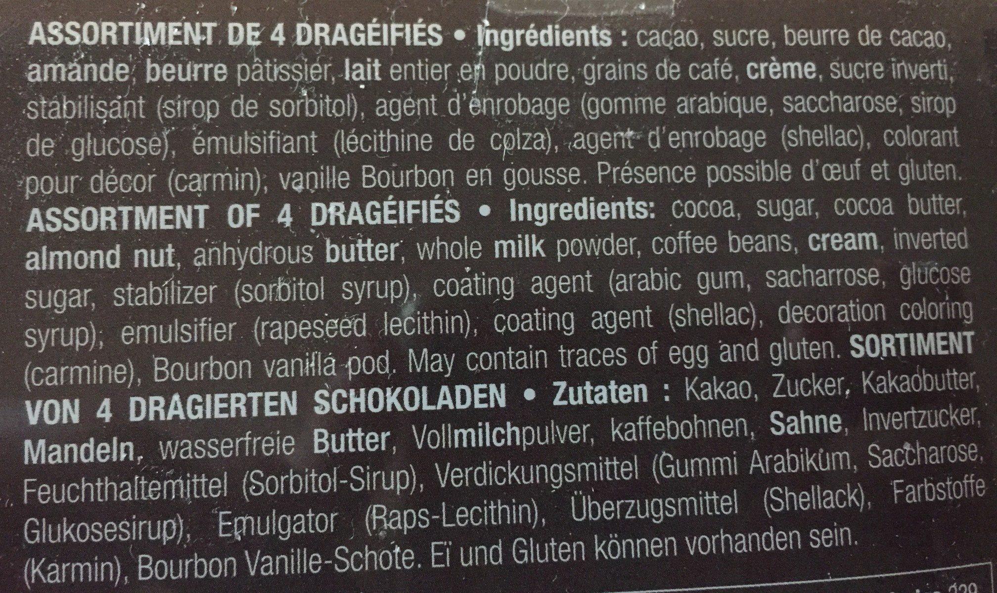 Coffret Tiroir Dragéifiés - Ingrédients - fr