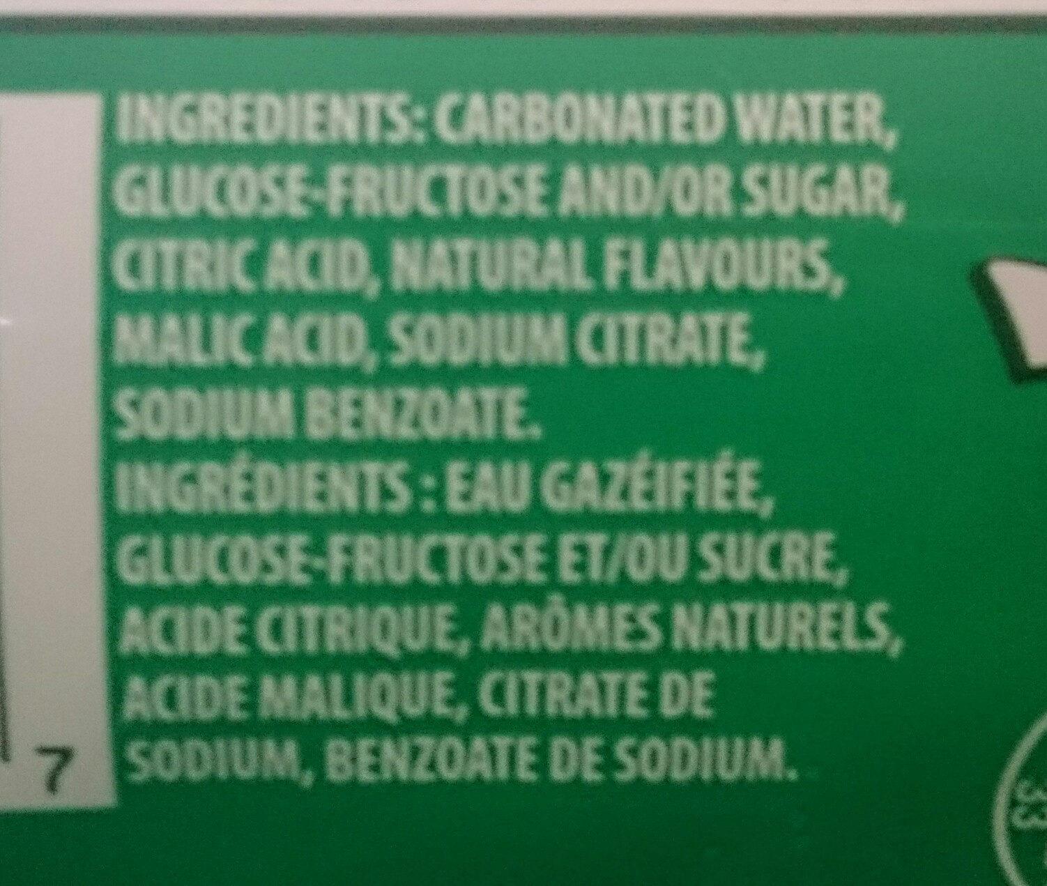 7up lemon, lime & bubbles - Ingredients - en