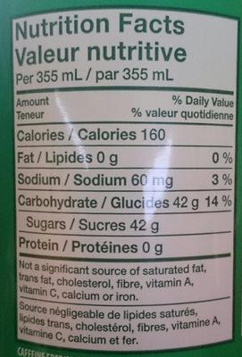 7up lemon, lime & bubbles - Nutrition facts - en