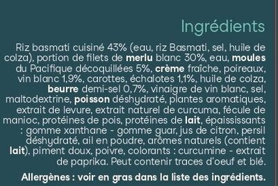 Merlu blanc marinière et son riz basmati - Ingrédients - fr