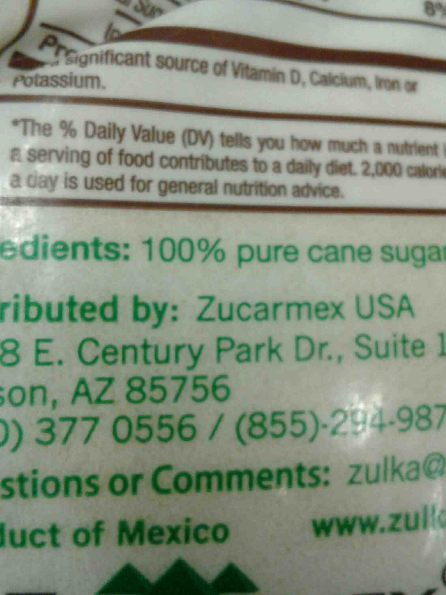 Zulka Lorena pure cane sugar - Ingredients - en