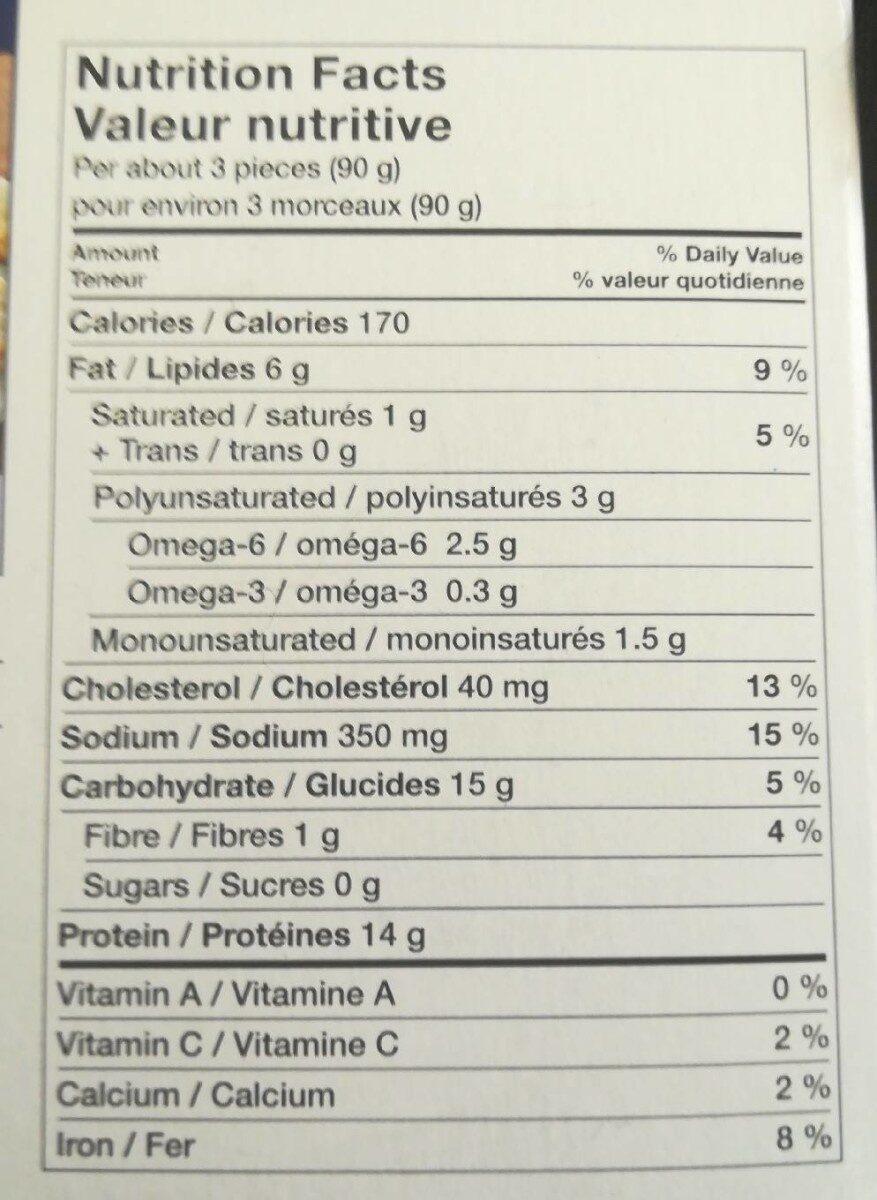 Morceaux de poulet - Nutrition facts - fr