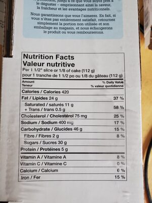m&m too tall cake - Nutrition facts - en