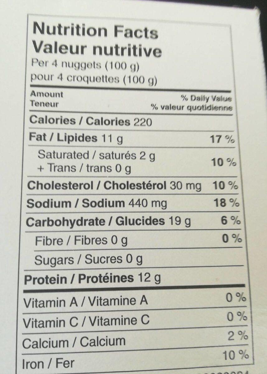 Croquettes de poulet - Nutrition facts - fr