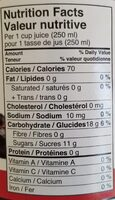 Jus Canneberges 100% Pure Jus - Nutrition facts - en