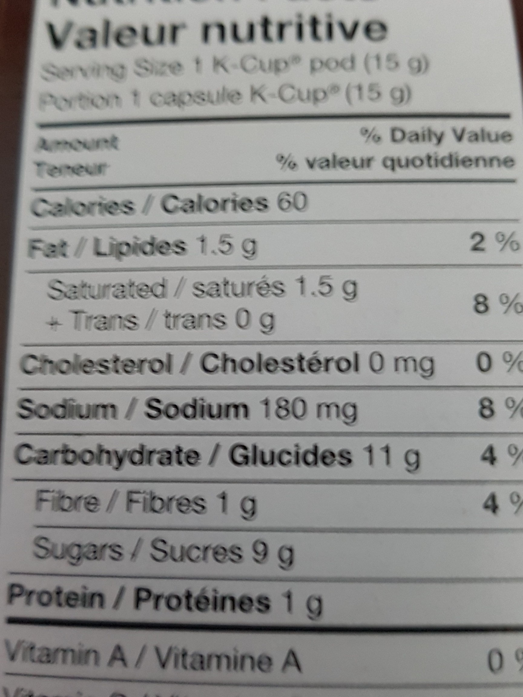 chocolat chaud - Informations nutritionnelles