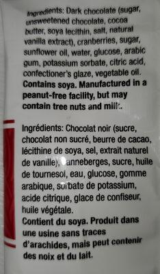 Canneberges enrobées chocolat - Ingredients - fr