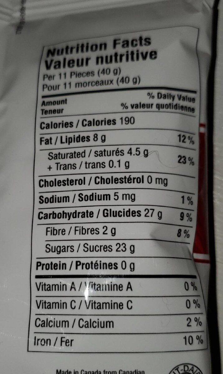 Canneberges enrobées chocolat - Nutrition facts - fr