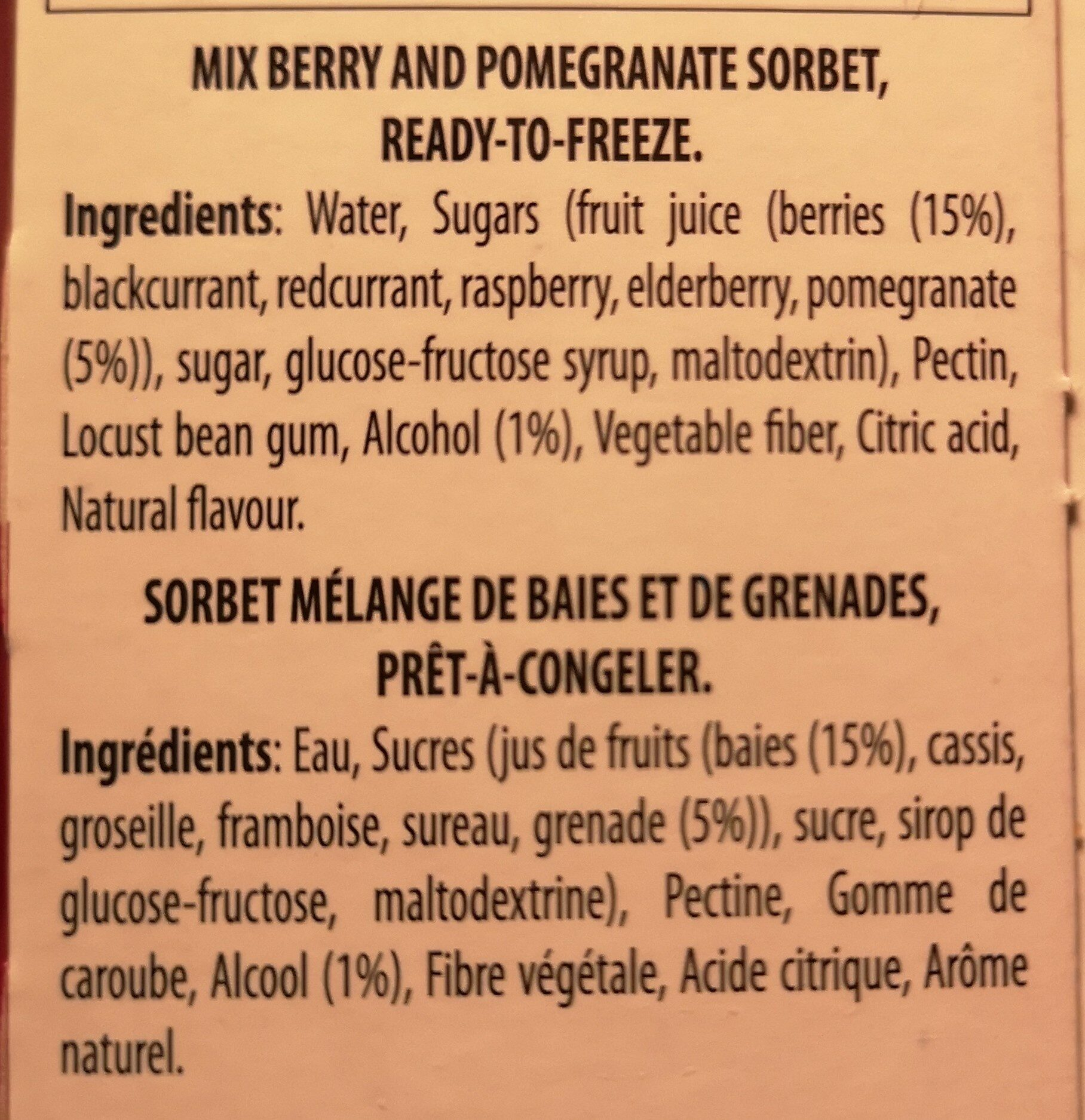 Sensofreddo il sorbetto - Ingredients - fr
