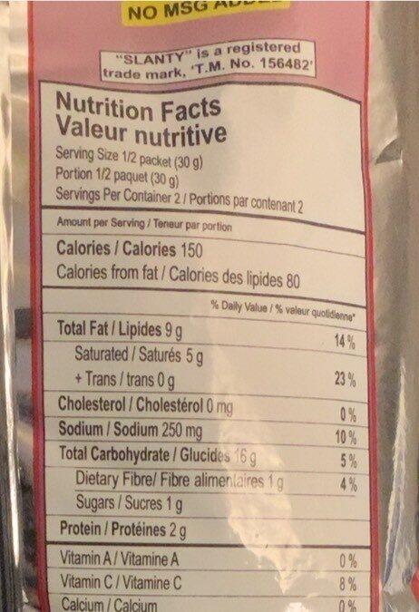 Slanty - Nutrition facts - fr