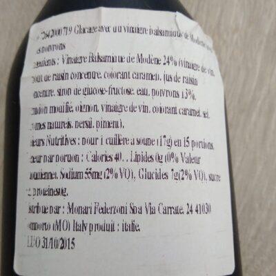 Monari Federzoni Balsamic Glaze With Peppers Dressing (9 Oz) - Ingredients
