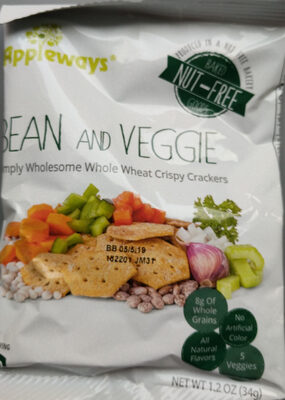 Bean and Veggie Simply Wholesome Whole Wheat Crispy Crackers - Product