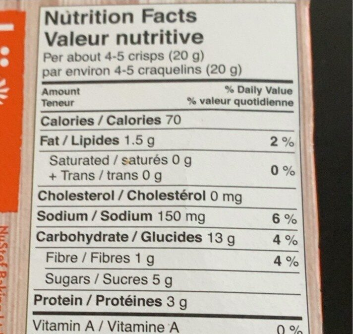 Crisp aprct oran almond - Nutrition facts - fr