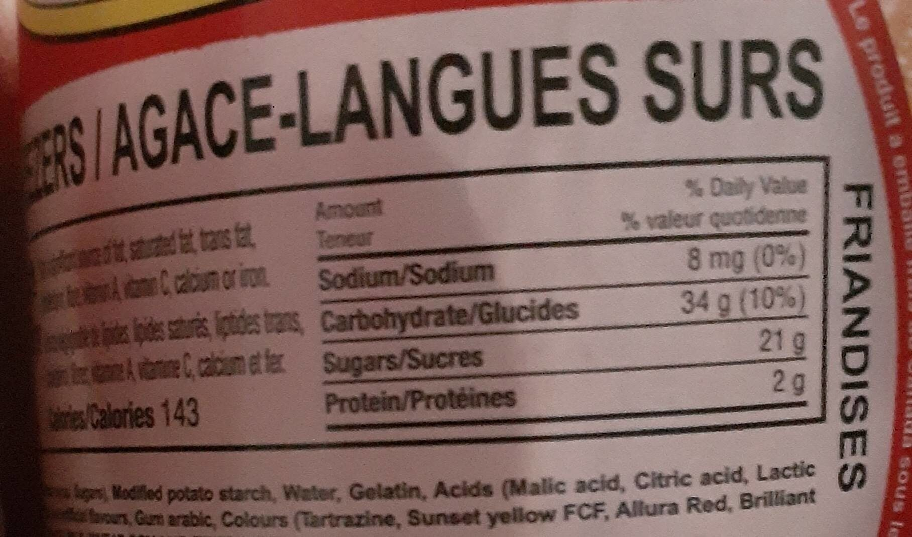 Sour teezers - Nutrition facts - fr