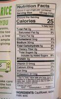 Cauliflower rice - Nutrition facts - fr