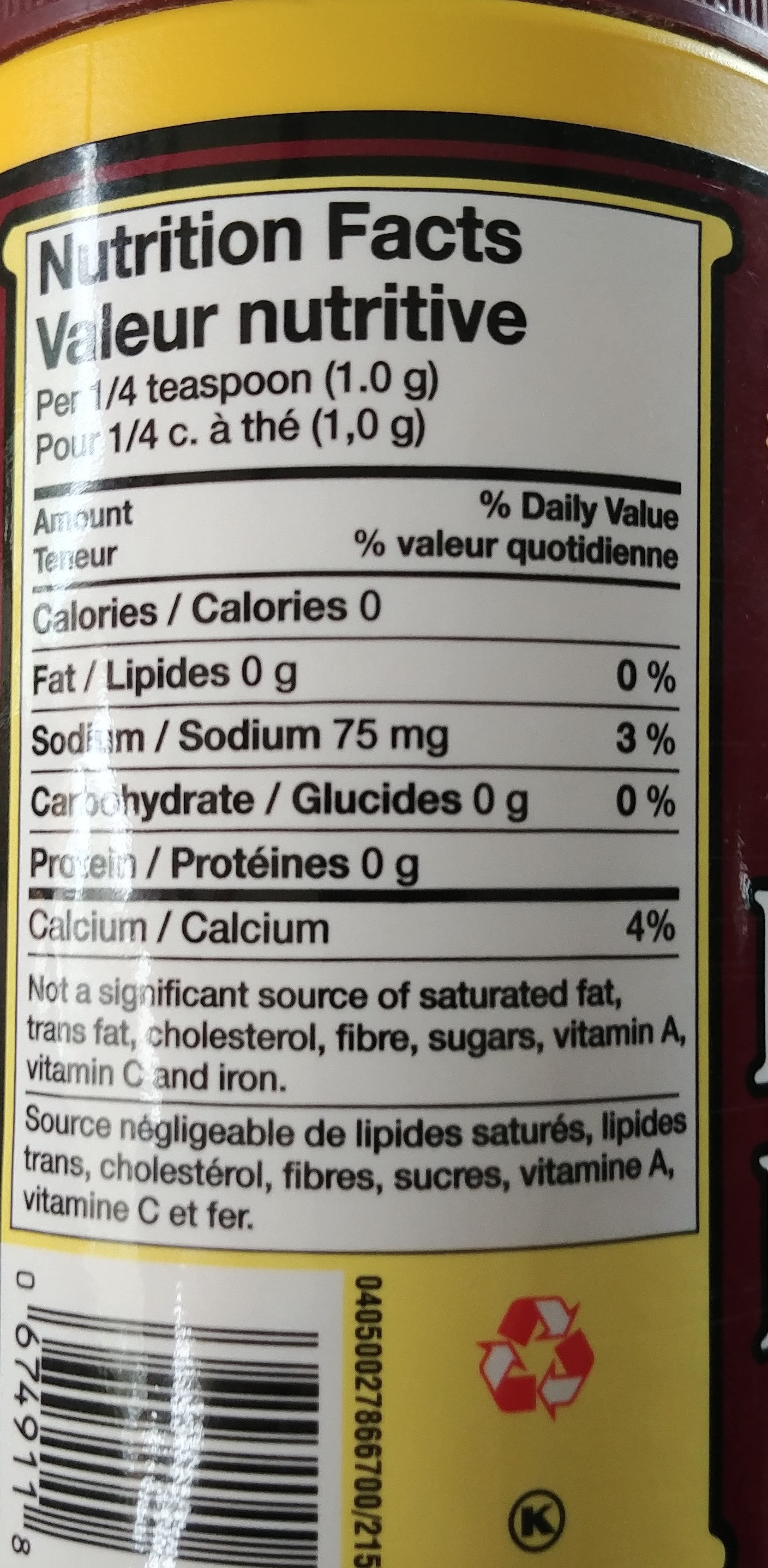 Magic Baking Powder - Informations nutritionnelles - fr