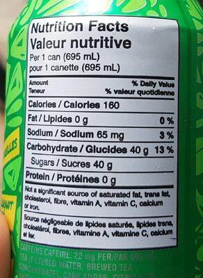 Green tea thé vert - Informations nutritionnelles - fr