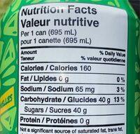 Green tea thé vert - Nutrition facts - fr
