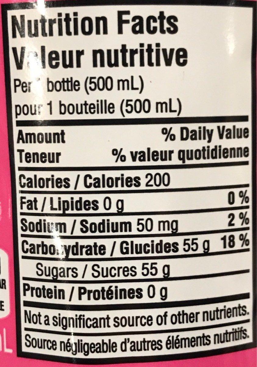 Coca-Cola Framboise - Valori nutrizionali - fr