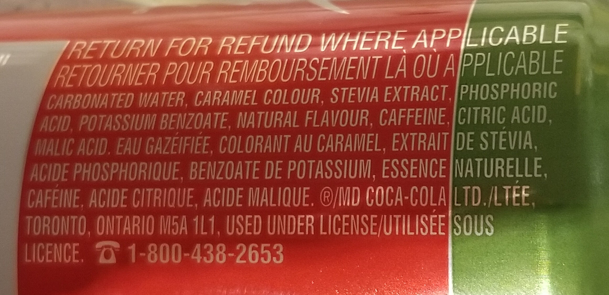 Coca-Cola Stevia - Ingrédients - en