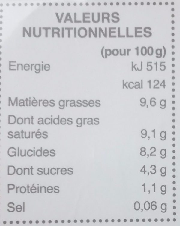 Dessert Végétal au Lait de Coco Mangue & Fruit de la Passion - Informations nutritionnelles