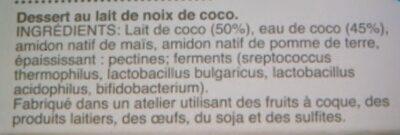 Dessert au lait de noix de coco - Ingrédients