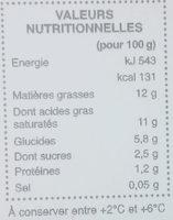 Dessert au lait de noix de coco - Informations nutritionnelles