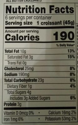 All butter croissants - Nutrition facts - fr