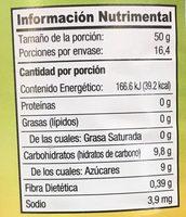 COCTÉL DE FRUTAS EN ALMÍBAR - Información nutricional - es
