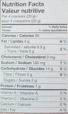 Vegetable crackers - Información nutricional