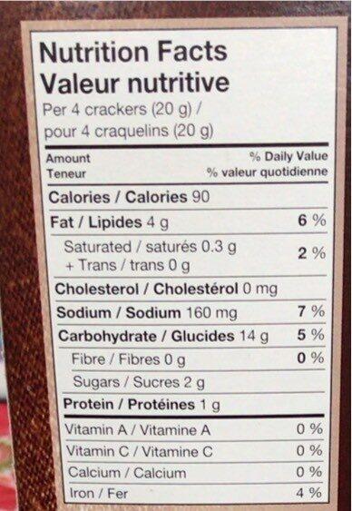 Vegetable crackers - Nutrition facts - en