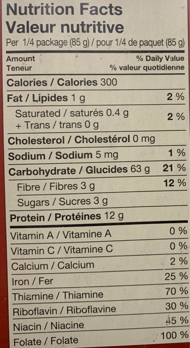 Lasagna - Nutrition facts - en
