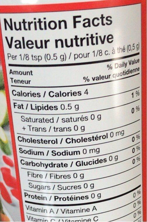 aerosol de cuisson - Nutrition facts - fr