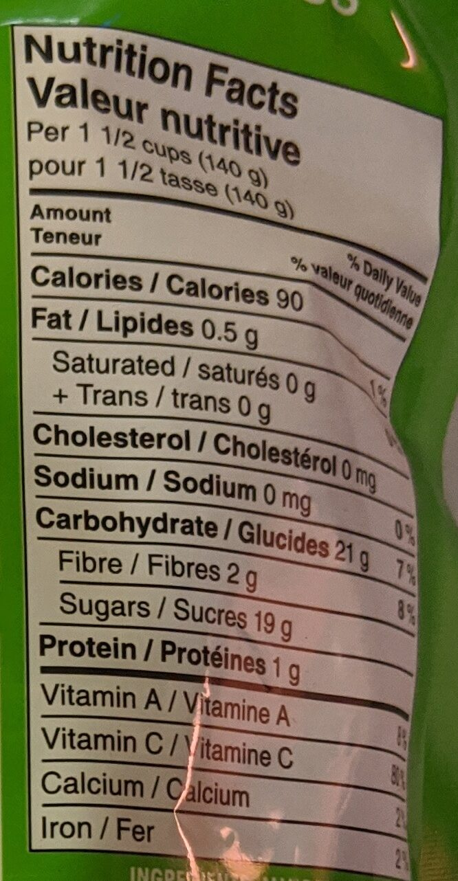 Great Value Mango Chunks - Nutrition facts - en
