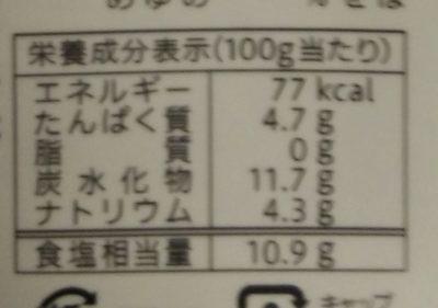 だし醤油 - 栄養成分表
