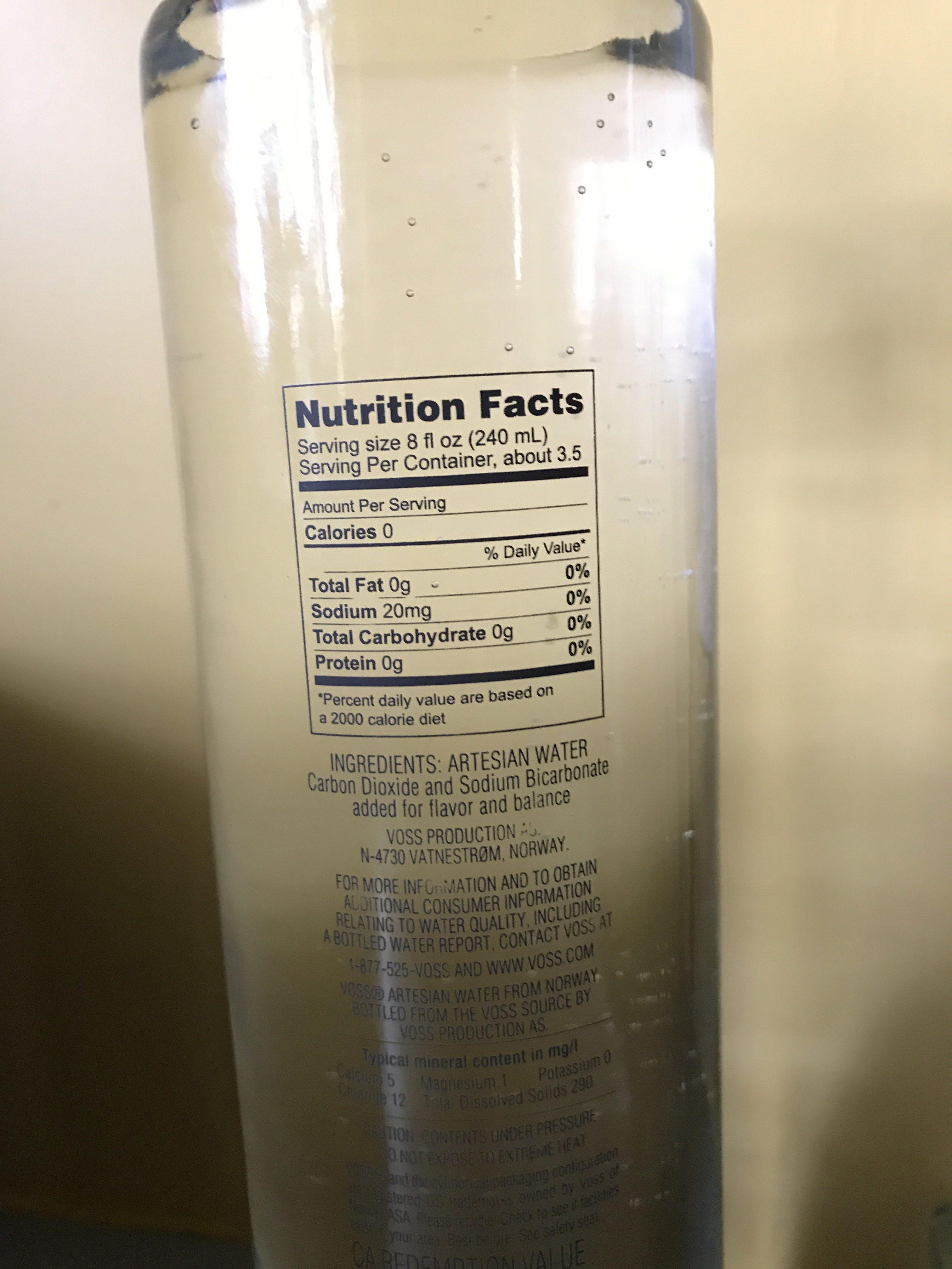Sparkling Artesian Water From Norway - Ingredients
