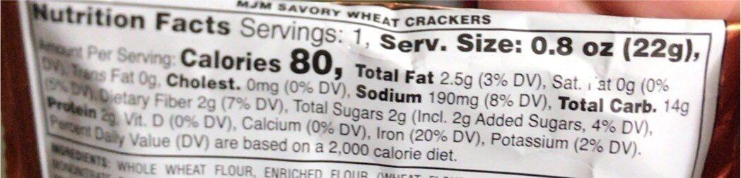 Savory Bites whole grain wheat crackers - Nutrition facts - en
