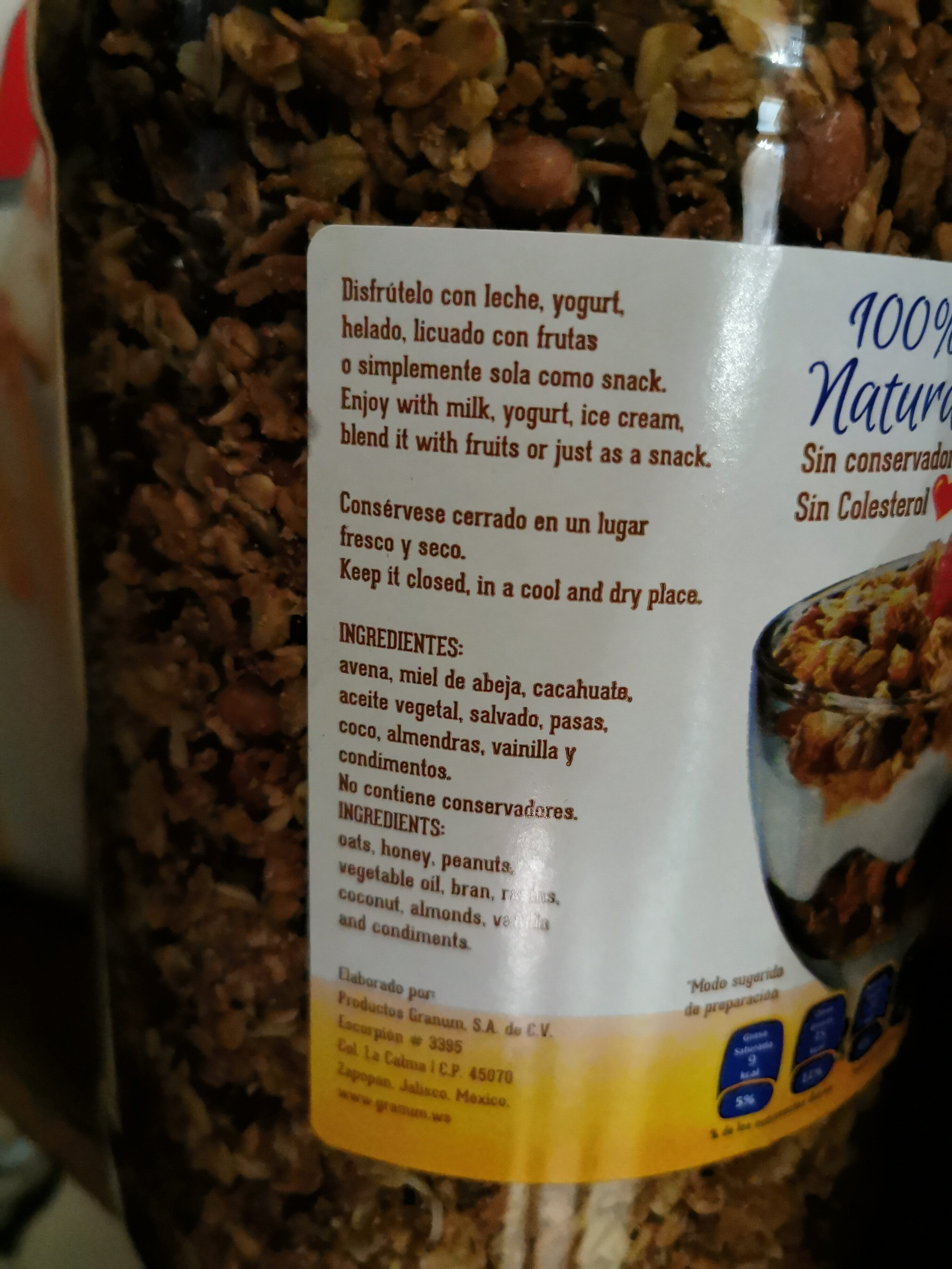 Grunny Granola - Ingrediënten - es