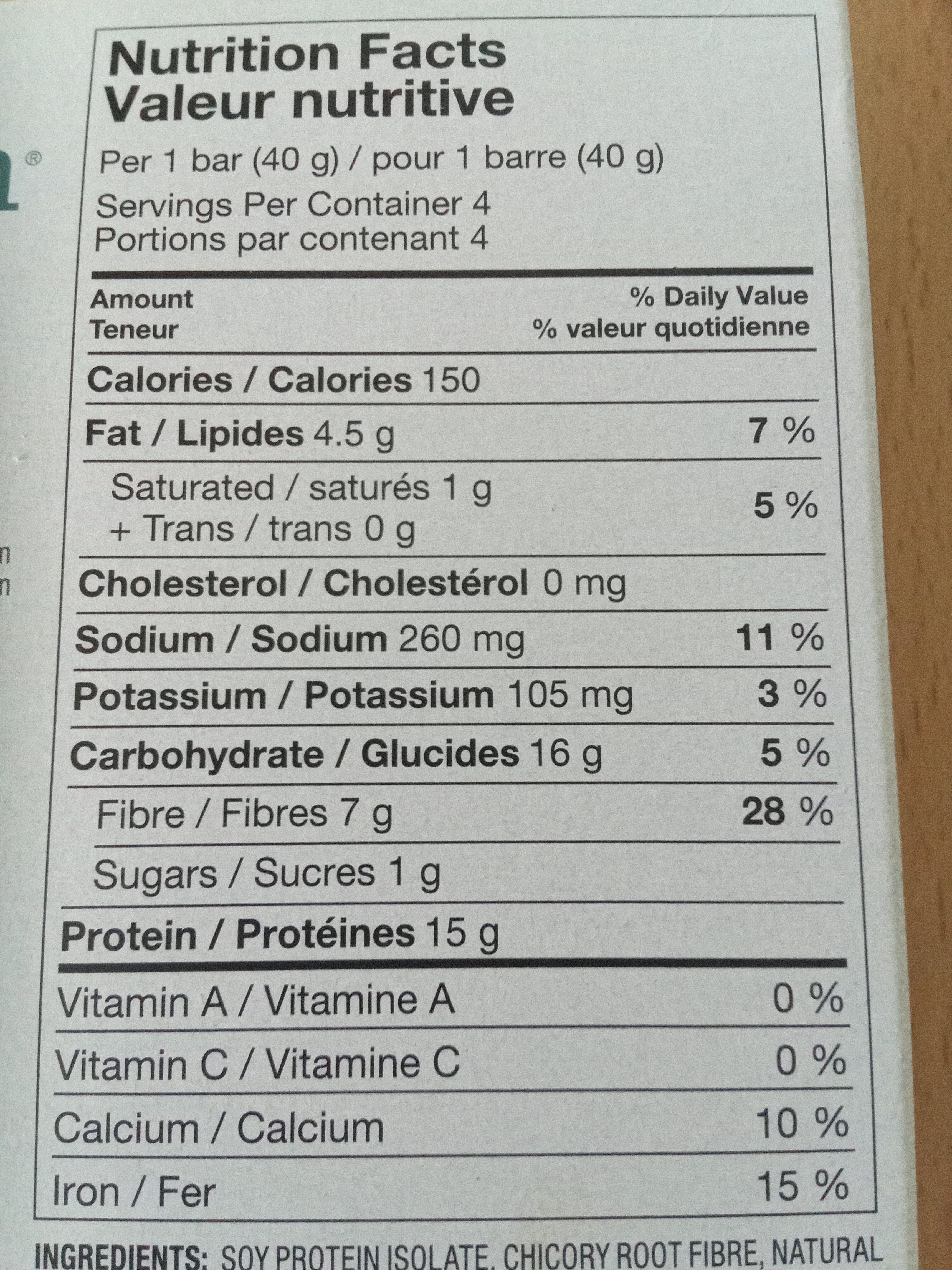 Simply Protein - Nutrition facts - fr