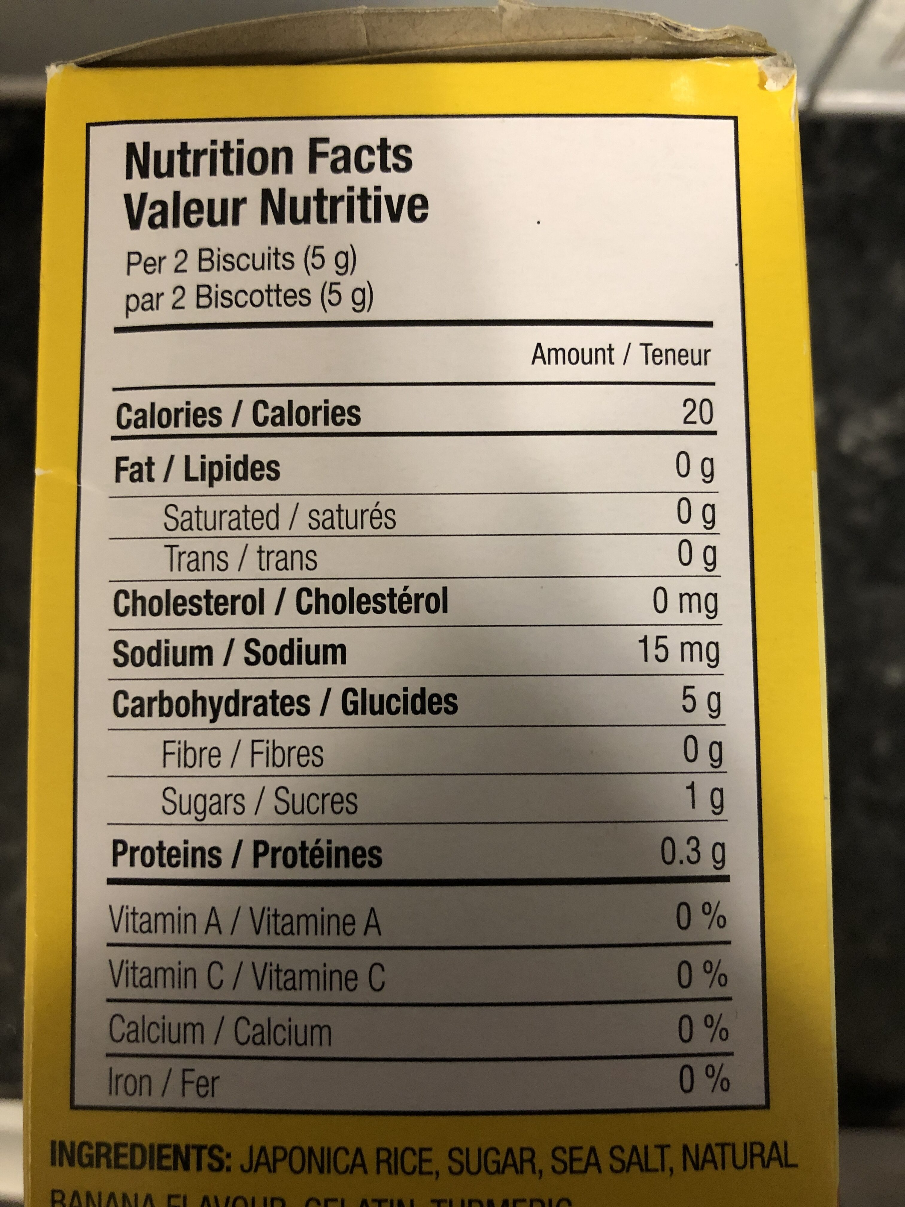 Toddler mum-mum banana rice biscuits - Nutrition facts - en